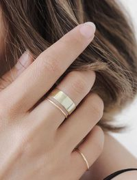Minimal yellow gold rings to make up the perfect stack | Vrai & Oro