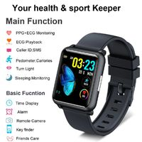 H9 1.3in Color Full Touch Screen ECG+PPG Monitor Smart Watch IP67 Waterproof spO2 Monitor Pedometer Multiple Sports Modes Fitness Tracker