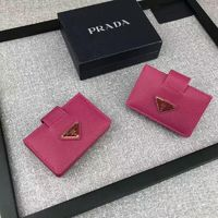 Prada 1M1211 Triangle Logo Saffiano Leather Card Wallet In Rose