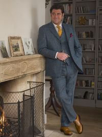 Blue tweed suit, for the gents...  http://www.peterchristianoutfitters.com/suits/tweed-suits/donegal-tweed-suit