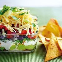 Healthy 7 Layer Dip Layer in this order: 1. Regular Hummus 2. Guacamole 3. Salsa 4. Black Beans, canned and drained 5. Cucumber, seedless,peeled and chopped 6. Cilantro, chopped 7. White sharp cheddar, shredded ****This is awesome! The dish was licked cle...