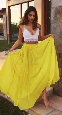 Elegant Prom Dress,Two Pieces Party Yellow Dress