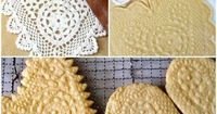 Valentine Day-food ideas-Heart shaped sugar cookies using a lace doilies