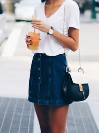 I can't believe Jean skirts are back in. I can't believe I'm into this. It's cute!