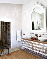 Love this bathroom with the reclaimed wood vanity