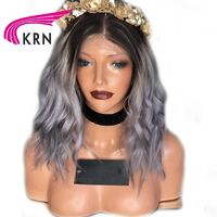 KRN 1B/Grey Ombre Color Lace Front Wig $323.54