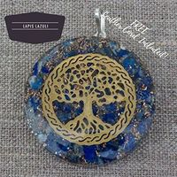 "Orgonite Chakra Energy Web Tree of Life Orgone Pendant �€"" Revitalization and Relaxation Chi-Lapis Lazuli, Carnelian Crystal necklace- Brass and Copper Tesla Coil Embedded- Unisex (Lapis Lazuli) $19.52"