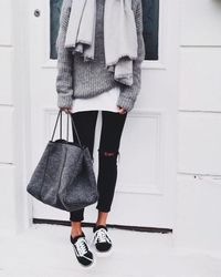 gray and black winter outfit