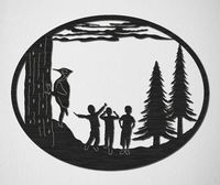 Pine Trees, woodpecker and Three Boys Just for: $29.00