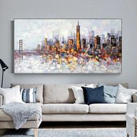 San Francisco Cityscape skyline oil Palette knife heavy texture Large abstract painting on canvas living room wall art cuadros abstractos $129.00