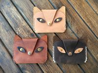 Leather Kids Wallet, Handmade Cat Wallet, Genuine Leather Purse for Girls & Boys, Minimalist Wallet for Women, Beautiful Hand Sitched