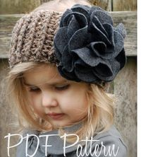 Crochet PATTERN for a Ear Headband Warmer for a Toddler Child. With Felt flower