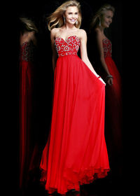 2014 Floral Beading Strapless Long Red Chiffon Evening Gown