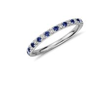 Pavé Sapphire and Diamond Ring in 14K White Gold $500