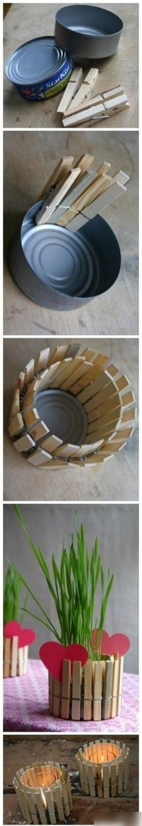 CRAFT / DIY: Clothespostpencil cup (or whatever holder). Doesn't get much simpler than this. Be creative with it....glue on beads, sequins, foam shapes, or small shells to the clothes pins..