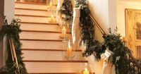 Christmas stockings on stairway