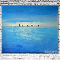 Blue World Abstract Oil Painting On Canvas Hand-painted