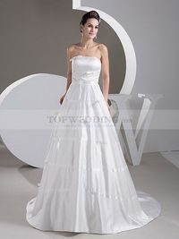 RIBBON TRIMMED STRAPLESS A LINE SATIN WEDDING GOWN