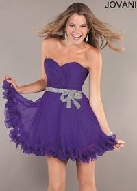 Strapless Sequined Waist Purple Flared Homecoming Dress