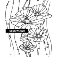 Printable Child Coloring Page, Coloring 24 Flowers and Beads, Instant Download, black and white illustration. Coloring Sheet, Home Coloring