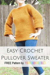 Easy Crochet Pullover Sweater Using The Moss Stitch