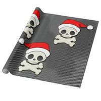 Cute Goth Skulls in Santa Hats Wrapping Paper