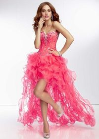 Pink Beaded High Low Ruffled PromDresses