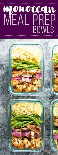 Moroccan couscous meal prep bowls with chicken thighs, roasted cauliflower, green beans and red onions. Perfect for lunch or for dinner!
