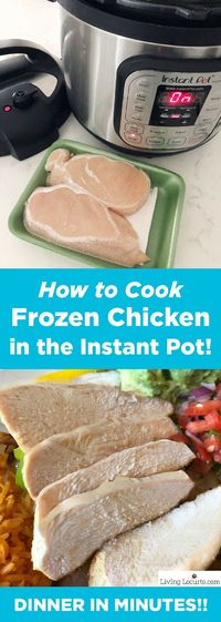 How to Cook Frozen Chicken Breasts in Instant Pot Pressure Cooker. Fast and easy way to cook chicken in an Instant Pot. How to get delicious juicy chicken breasts in minutes with no thawing required! Quick dinner recipe ideas with chicken. #chicken #insta...