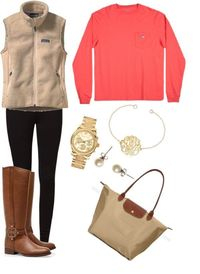 A fashion look from March 2013 featuring patagonia vest, legging pants and knee-high boots. Browse and shop related looks.