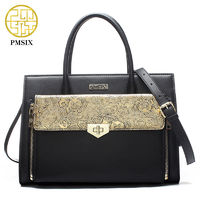 Pmsix 2017 New Arrivals Chinese Style Fashion Ladies Handbag Black Embossing Split Leather Large Shoulder Bag Tote Bag P120059 $133.98
