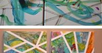 Use painters tape on a canvas and let the kiddos paint away! Love this.