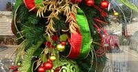 Red gold and green Christmas Teardrop = I do something like this at the end of my stairway on the newel post.