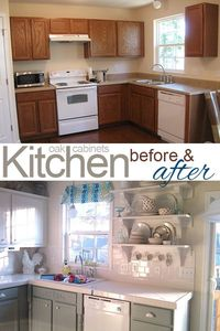 Painting Oak Cabinets White and Gray #oak cabinets #white cabinets #kitchen cabinets