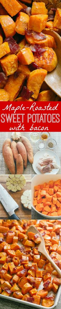 Make Maple Roasted Sweet Potatoes and Bacon once and you'll make them again and again! These roasted sweet potatoes are sweet/salty/savory and delicious.   natashaskitchen.com