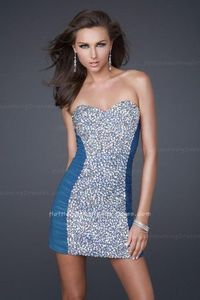 La Femme 16368 Strapless Peacock Short Mini Fitted Ruched Homecoming Dresses