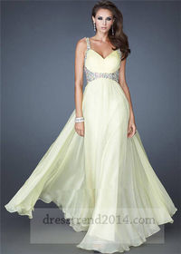 Lemon Beaded Open Back Long Prom Dress For Cheap