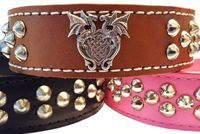 Leather Dog Collar with Spikes, Dragon Heart, Pink, Black or Brown Leather, Wide Dog Collars, Tapered, $54.99