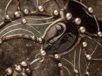 Pendant With Natural Stone- Face is Black Agat, Smoky Quartz and Black Stained Glass Crescent Moon, Necklace - Witchcraft Jewelry - Shamanic $89.00