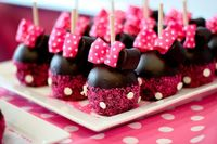 Cutest things EVER! Minnie Mouse choc. covered strawberries/or cake pops! <3 (whichever you prefer!)
