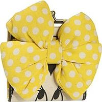 Minnie Mouse Yellow Bow Kisslock Wallet Tan with Colored Details