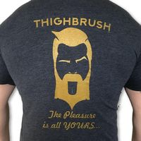 THIGHBRUSH - The Pleasure is All YOURS - Men's T-Shirt - Heather Navy Blue and Gold