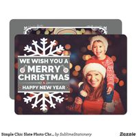 Simple Chic Slate Photo Christmas Flat Card