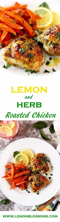 This Lemon and Herb Roasted Chicken is amazing! The vibrant taste of lemon and the freshness of the herbs make this easy dish out of this world delicious!