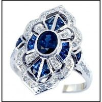 18K White Gold Diamond Accents and Blue Sapphire Vintage Ring Style [RA0002]