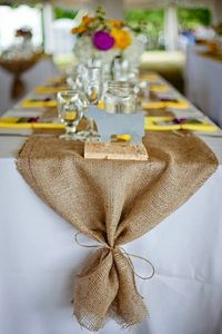 Burlap table runner. love this for a backyard.