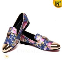 Patented Leather Shoes | CWMALLS® Floral Printed Leather Loafers CW708003[Patented Products, Custom Made]