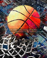 One colorful basketball artworks A modern basketball art print. I have many basketball poster art prints in this collection. This is by basketball artist takumipark #baketballartist #basketballart #urbanart #streetart #photo