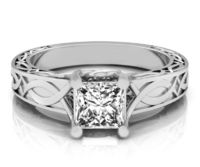 Princess cut Engagement Ring Simulated Diamond Milgrain Ring in 14K or 18K White Yellow or Rose gold $557.00