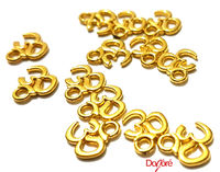 Pack of 20 Mini Gold Om Charms. Aum Meditation Buddhist Pendants. Buddha Ohm Tags. 9mm x 10mm £6.99
